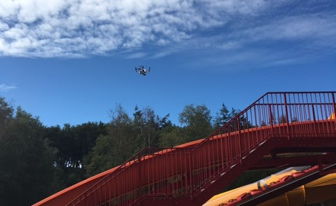 Drone in Sky above Water ride